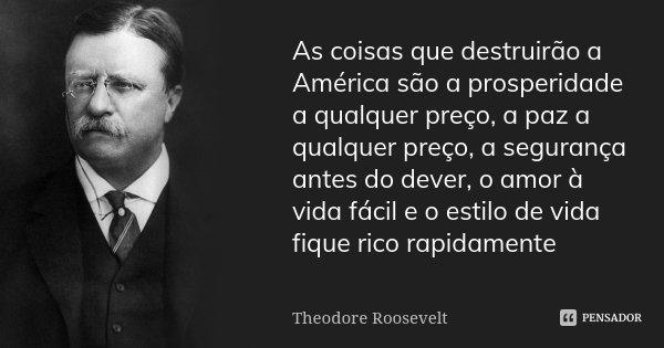 As coisas que destruirão a América são a prosperidade a qualquer preço, a paz a qualquer preço, a segurança antes do dever, o amor à vida fácil e o estilo de vi... Frase de Theodore Roosevelt.