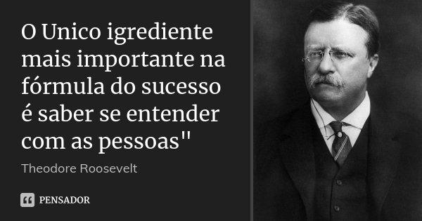"""O Unico igrediente mais importante na fórmula do sucesso é saber se entender com as pessoas""""... Frase de Theodore Roosevelt."""