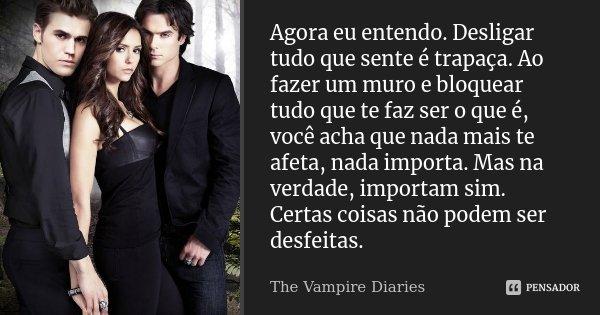 Agora eu entendo. Desligar tudo que sente é trapaça. Ao fazer um muro e bloquear tudo que te faz ser o que é, você acha que nada mais te afeta, nada importa. Ma... Frase de The Vampire Diaries.