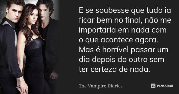 E se soubesse que tudo ia ficar bem no final, não me importaria em nada com o que acontece agora. Mas é horrível passar um dia depois do outro sem ter certeza d... Frase de The Vampire Diaries.