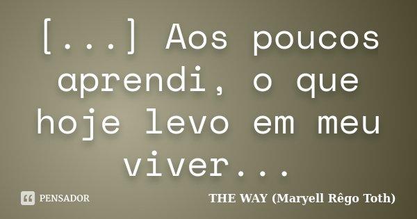 [...] Aos poucos aprendi, o que hoje levo em meu viver...... Frase de THE WAY (Maryell Rêgo Toth).