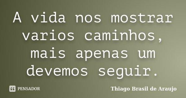 A vida nos mostrar varios caminhos, mais apenas um devemos seguir.... Frase de Thiago Brasil de Araujo.