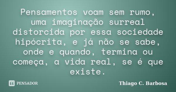 Pensamentos voam sem rumo, uma imaginação surreal distorcida por essa sociedade hipócrita, e já não se sabe, onde e quando, termina ou começa, a vida real, se é... Frase de Thiago C. Barbosa.