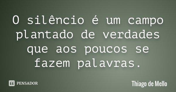 O silêncio é um campo plantado de verdades que aos poucos se fazem palavras.... Frase de Thiago de Mello.