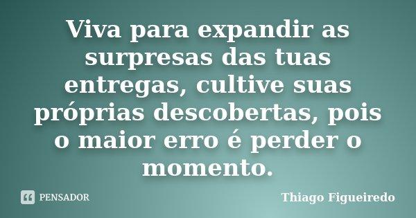 Viva para expandir as surpresas das tuas entregas, cultive suas próprias descobertas, pois o maior erro é perder o momento.... Frase de Thiago Figueiredo.