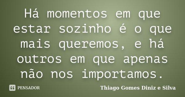 Há momentos em que estar sozinho é o que mais queremos, e há outros em que apenas não nos importamos.... Frase de Thiago Gomes Diniz e Silva.