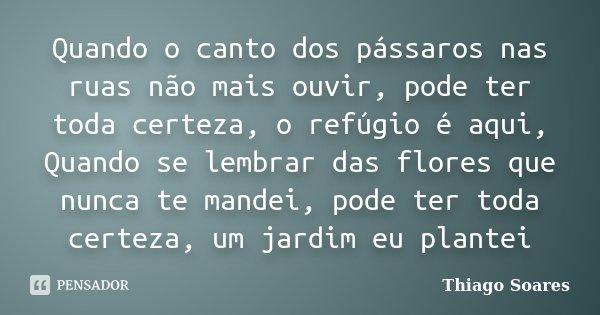Quando o canto dos pássaros nas ruas não mais ouvir, pode ter toda certeza, o refúgio é aqui, Quando se lembrar das flores que nunca te mandei, pode ter toda ce... Frase de Thiago Soares.