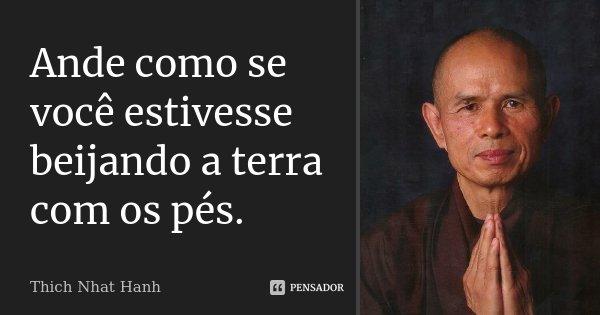 Ande como se você estivesse beijando a terra com os pés.... Frase de Thich Nhat Hanh.