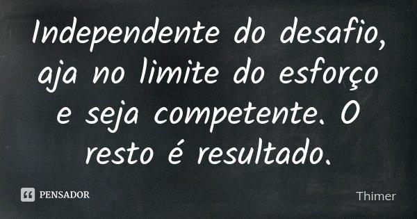 Independente do desafio, aja no limite do esforço e seja competente. O resto é resultado.... Frase de Thimer.