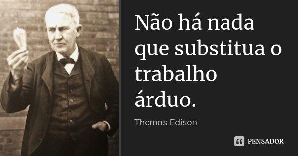 Não há nada que substitua o trabalho árduo.... Frase de Thomas Edison.