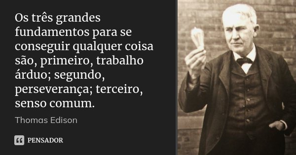 Os três grandes fundamentos para se conseguir qualquer coisa são, primeiro, trabalho árduo; segundo, perseverança; terceiro, senso comum.... Frase de Thomas Edison.