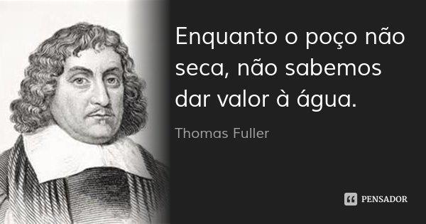 Enquanto o poço não seca, não sabemos dar valor à água.... Frase de Thomas Fuller.