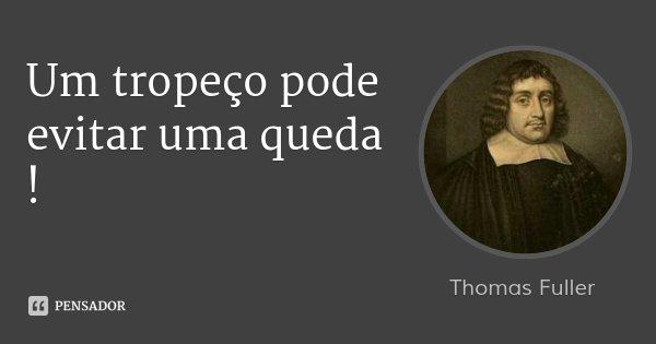 Um tropeço pode evitar uma queda !... Frase de Thomas Fuller.