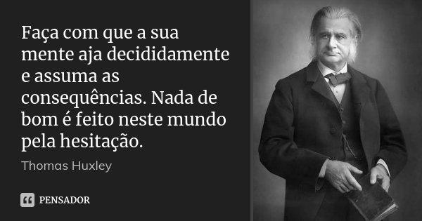 Faça com que a sua mente aja decididamente e assuma as consequências. Nada de bom é feito neste mundo pela hesitação.... Frase de Thomas Huxley.