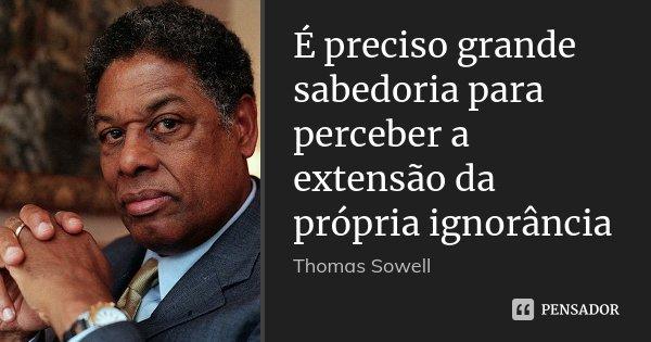 É preciso grande sabedoria para perceber a extensão da própria ignorância... Frase de Thomas Sowell.