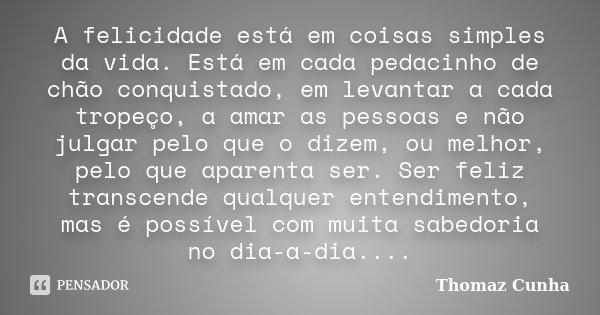 A felicidade está em coisas simples da vida. Está em cada pedacinho de chão conquistado, em levantar a cada tropeço, a amar as pessoas e não julgar pelo que o d... Frase de Thomaz Cunha.