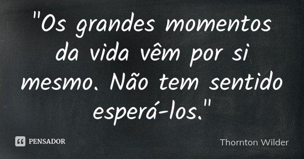"""""""Os grandes momentos da vida vêm por si mesmo. Não tem sentido esperá-los.""""... Frase de Thornton Wilder."""