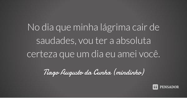 No dia que minha lágrima cair de saudades, vou ter a absoluta certeza que um dia eu amei você.... Frase de Tiago Augusto da Cunha (mindinho).