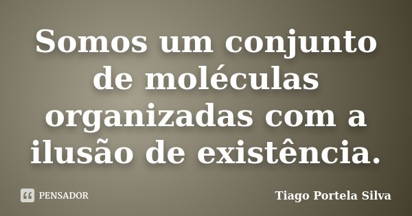 Somos um conjunto de moléculas organizadas com a ilusão de existência.... Frase de Tiago Portela Silva.