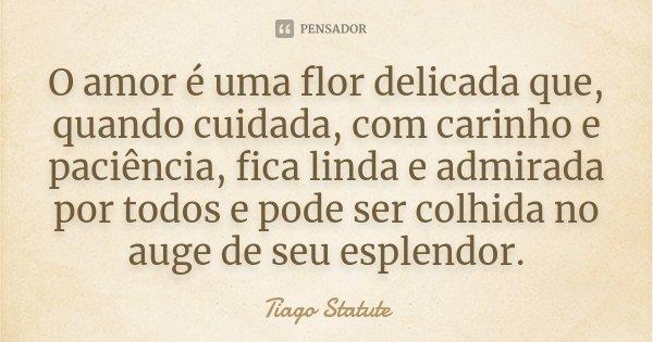 """""""O amor é uma flor delicada, que quando cuidada, com carinho e paciência, fica linda e admirada por todos e pode ser colhida no auge de seu esplendor"""".... Frase de Tiago Statute."""