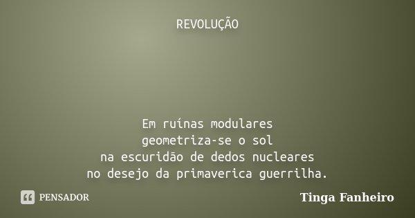REVOLUÇÃO Em ruínas modulares geometriza-se o sol na escuridão de dedos nucleares no desejo da primaverica guerrilha.... Frase de Tinga Fanheiro.