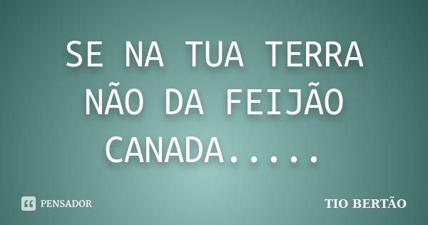 SE NA TUA TERRA NÃO DA FEIJÃO CANADA........ Frase de TIO BERTÃO.
