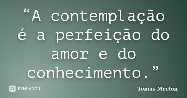"""""""A contemplação é a perfeição do amor e do conhecimento.""""... Frase de Tomas Merton."""