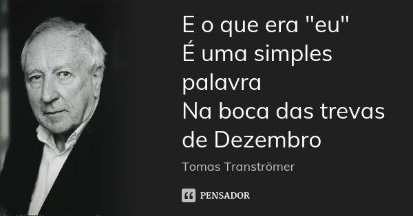"""E o que era """"eu"""" É uma simples palavra Na boca das trevas de Dezembro... Frase de Tomas Tranströmer."""