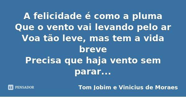 A felicidade é como a pluma Que o vento vai levando pelo ar Voa tão leve, mas tem a vida breve Precisa que haja vento sem parar...... Frase de Tom Jobim e Vinicius de Moraes.