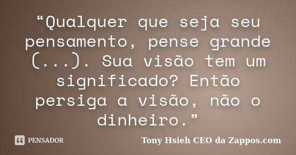 """""""Qualquer que seja seu pensamento, pense grande (...). Sua visão tem um significado? Então persiga a visão, não o dinheiro.""""... Frase de Tony Hsieh CEO da Zappos.com."""