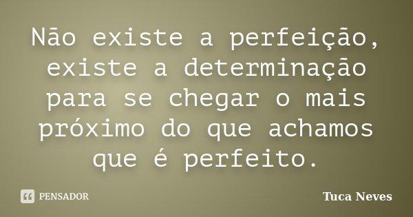 Não existe a perfeição, existe a determinação para se chegar o mais próximo do que achamos que é perfeito.... Frase de Tuca Neves.