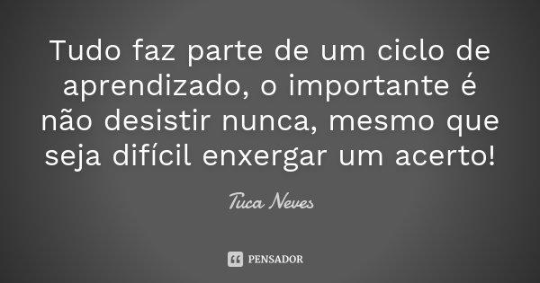 Tudo faz parte de um ciclo de aprendizado, o importante é não desistir nunca, mesmo que seja difícil enxergar um acerto!... Frase de Tuca Neves.