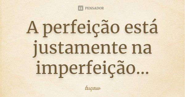 A Perfeição esta Justamente na Imperfeição...... Frase de tuçaw.