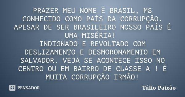 PRAZER MEU NOME É BRASIL, MS CONHECIDO COMO PAÍS DA CORRUPÇÃO. APESAR DE SER BRASILEIRO NOSSO PAÍS É UMA MISÉRIA! INDIGNADO E REVOLTADO COM DESLIZAMENTO E DESMO... Frase de Túlio Paixão.