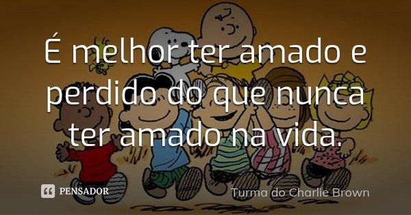 É melhor ter amado e perdido do que nunca ter amado na vida.... Frase de Turma do Charlie Brown.