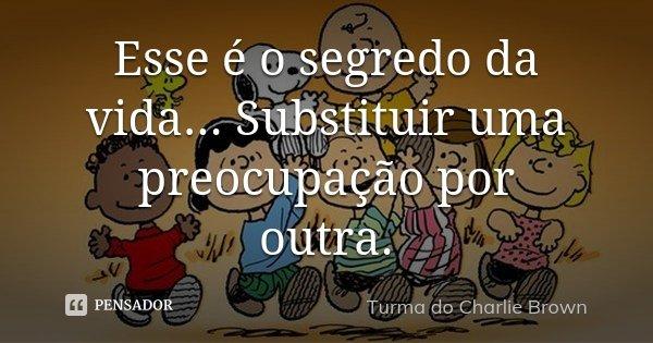 Esse é o segredo da vida... Substituir uma preocupação por outra.... Frase de Turma do Charlie Brown.