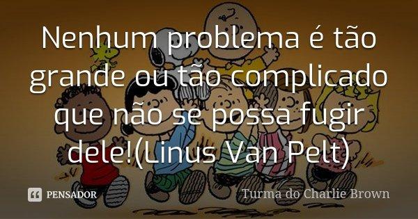 Nenhum problema é tão grande ou tão complicado que não se possa fugir dele!(Linus Van Pelt)... Frase de Turma do Charlie Brown.