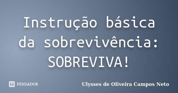 Instrução básica da sobrevivência: SOBREVIVA!... Frase de Ulysses de Oliveira Campos Neto.
