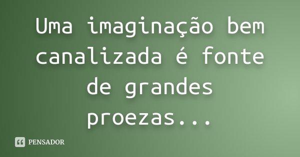Uma imaginação bem canalizada é fonte de grandes proezas...... Frase de Desconhecido.
