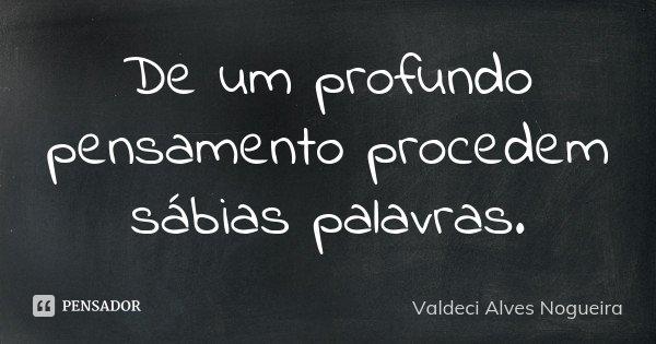 De um profundo pensamento procedem sábias palavras.... Frase de Valdeci Alves Nogueira.