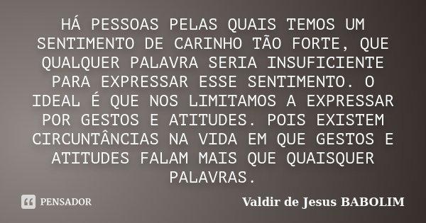 HÁ PESSOAS PELAS QUAIS TEMOS UM SENTIMENTO DE CARINHO TÃO FORTE, QUE QUALQUER PALAVRA SERIA INSUFICIENTE PARA EXPRESSAR ESSE SENTIMENTO. O IDEAL É QUE NOS LIMIT... Frase de Valdir de Jesus BABOLIM.