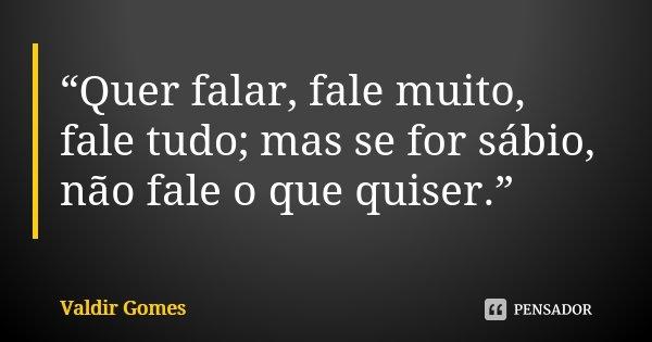 """""""Quer falar, fale muito, fale tudo; mas se for sábio, não fale o que quiser.""""... Frase de Valdir Gomes."""