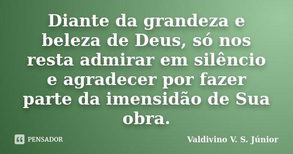 Diante da grandeza e beleza de Deus, só nos resta admirar em silêncio e agradecer por fazer parte da imensidão de Sua obra.... Frase de Valdivino V. S. Júnior.