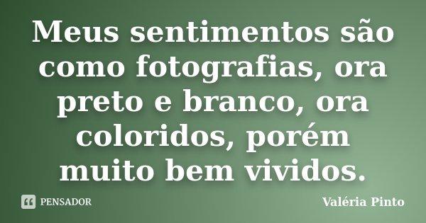 Meus sentimentos são como fotografias, ora preto e branco, ora coloridos, porém muito bem vividos.... Frase de Valéria Pinto.