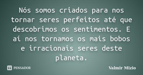 Nós somos criados para nos tornar seres perfeitos até que descobrimos os sentimentos. E aí nos tornamos os mais bobos e irracionais seres deste planeta.... Frase de Valmir Mizio.