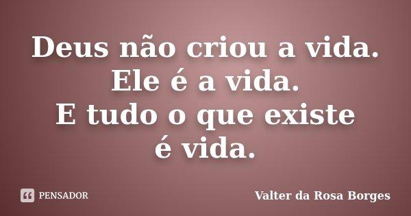 Deus não criou a vida. Ele é a vida. E tudo o que existe é vida.... Frase de Valter da Rosa Borges.