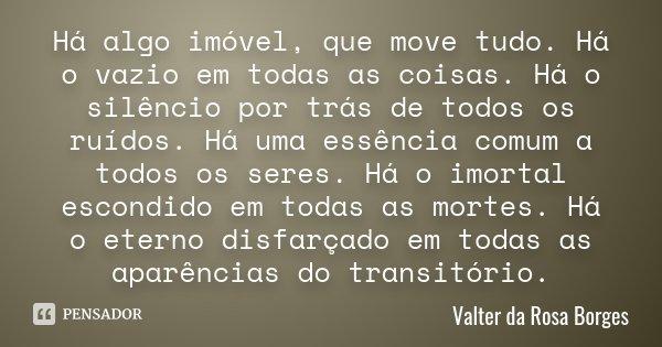 Há algo imóvel, que move tudo. Há o vazio em todas as coisas. Há o silêncio por trás de todos os ruídos. Há uma essência comum a todos os seres. Há o imortal es... Frase de Valter da Rosa Borges.
