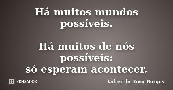Há muitos mundos possíveis. Há muitos de nós possíveis: só esperam acontecer.... Frase de Valter da Rosa Borges.
