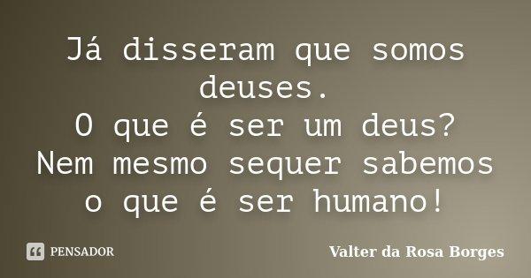 Já disseram que somos deuses. O que é ser um deus? Nem mesmo sequer sabemos o que é ser humano!... Frase de Valter da Rosa Borges.
