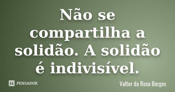 Não se compartilha a solidão. A solidão é indivisível.... Frase de Valter da Rosa Borges.